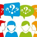 Illustration of people in a group asking questions.
