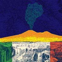 Illustration of Ancient Pompeii and smoking volcano.